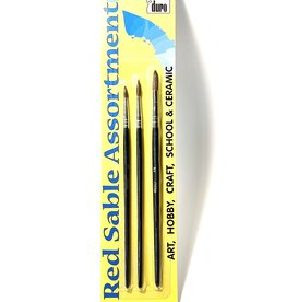 Duro Art, Red Sable Brushes: Round Sizes 1, 3, 5