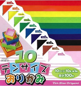 Origami, 10 Different Colors at 10 Different Sizes = 100  Sheets of Origami