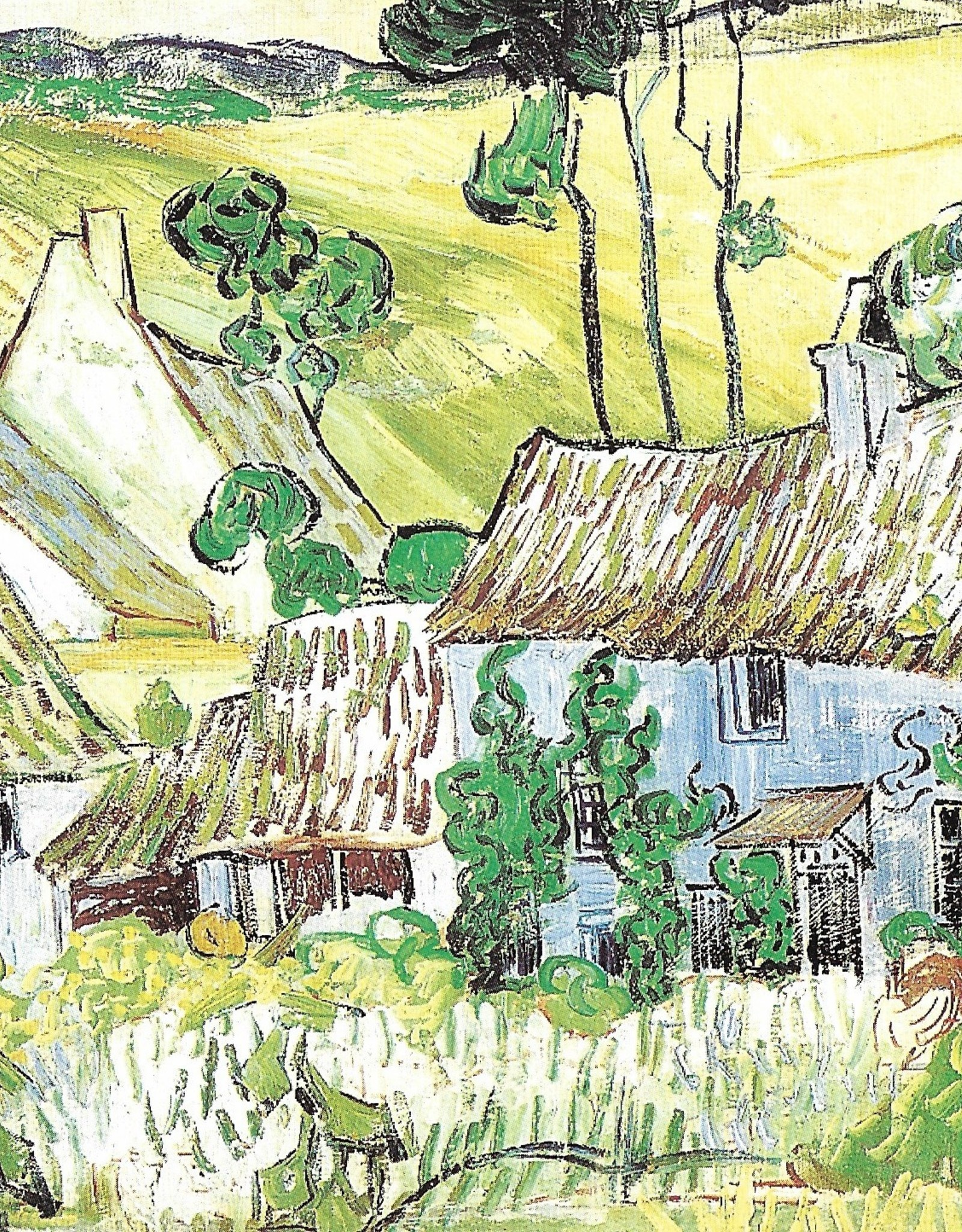 "Galison Art Card, Blank Card 5"" x 6.75"", Van Gogh, Group of Houses Seen Against a Hill"
