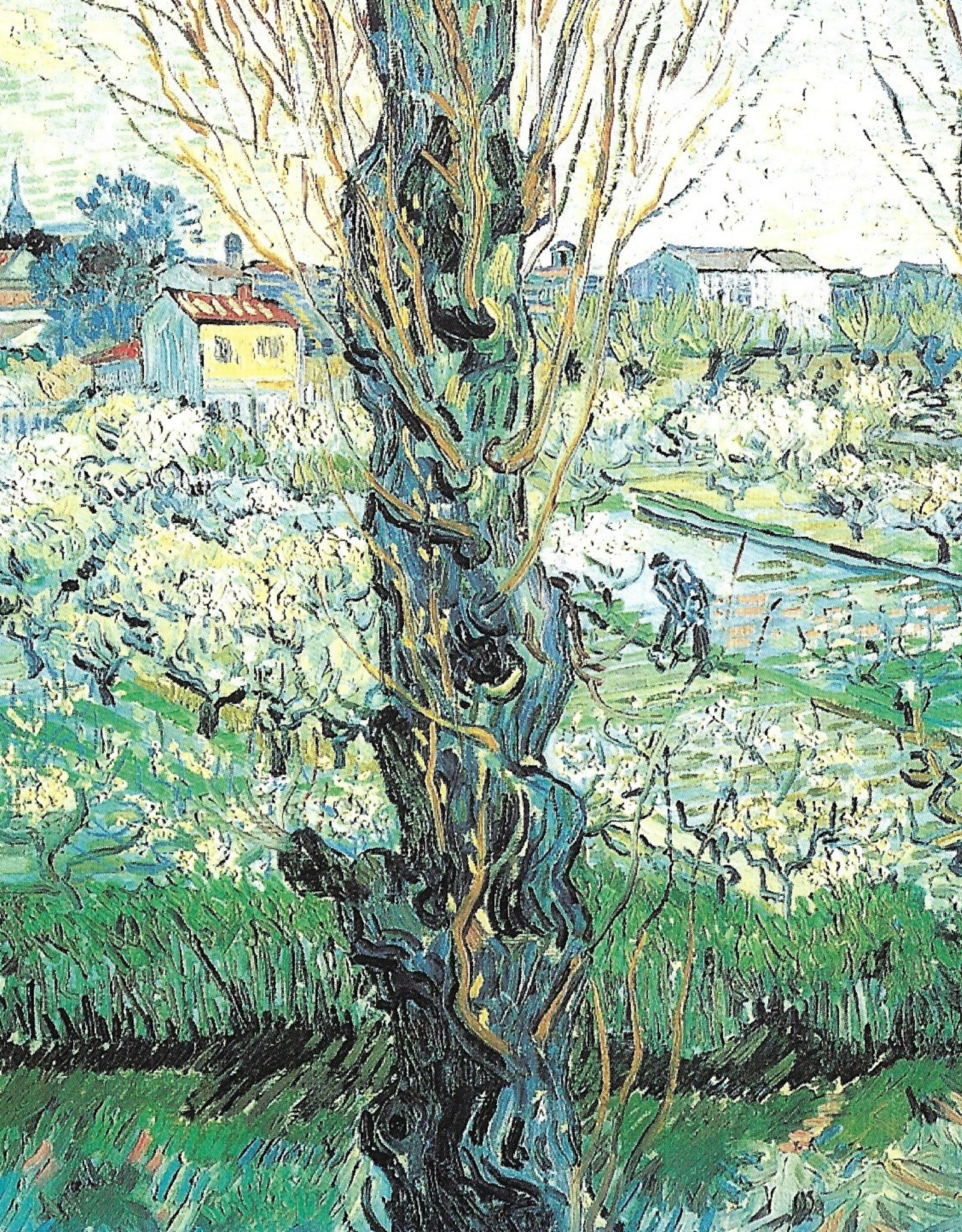 "Galison Art Card, Blank Card 5"" x 6.75"", Van Gogh, Orchard in Bloom with Poplars"