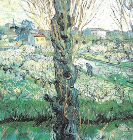 "Galison Art Card, Blank Card 5"" x 6.75"", Van Gogh, Orchard in Bloom with Poplars"
