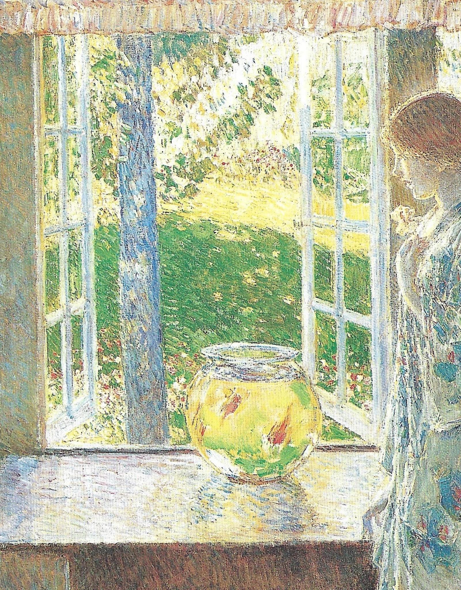 "Galison Art Card, Blank Card 5"" x 6.75"", Hassam, The Goldfish Window"
