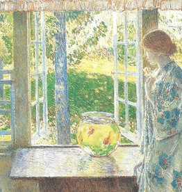 "Galison Art Card, Blank Card 5"" x 6.75"", Hassam, The Goldfish Window"