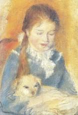 "Galison Art Card, Blank Card 3.5"" x 5"", Renoir, Fillette au Chien"