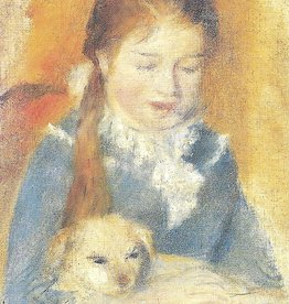 "Galison Art Card, Blank Card 3.5"" x 5"", Renoir, Fillette au Chien"