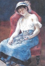 "Galison Art Card, Blank Card 3.5"" x 5"", Renoir, Sleeping Girl with Cat"