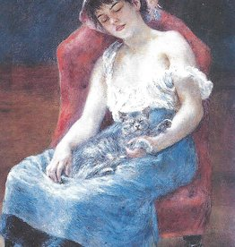 "Galison Art Card, Blank Card 3.5"" x 5"", Renoir, Sleeping Girl with Cat"