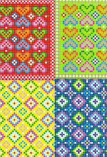 """Origami, 6"""" x 6"""", Mosaic (Hearts & Diamonds), 2 Different Patterns in 4 Different Colors, 24 Total Sheets"""