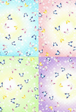 "Origami, 6"" x 6"", Butterfly Print Chiyogami, 12 Sheets of 4 Different Colors, 48 Total Sheets"