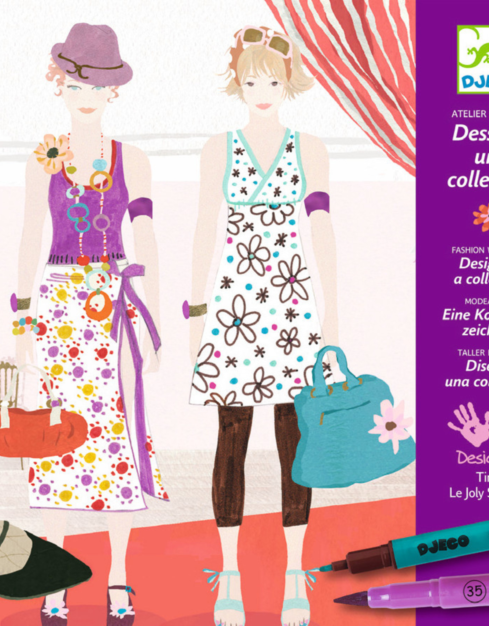 Drawing A Fashion Show Paper Doll Kit With Felt Tip Markers Dolphin Papers