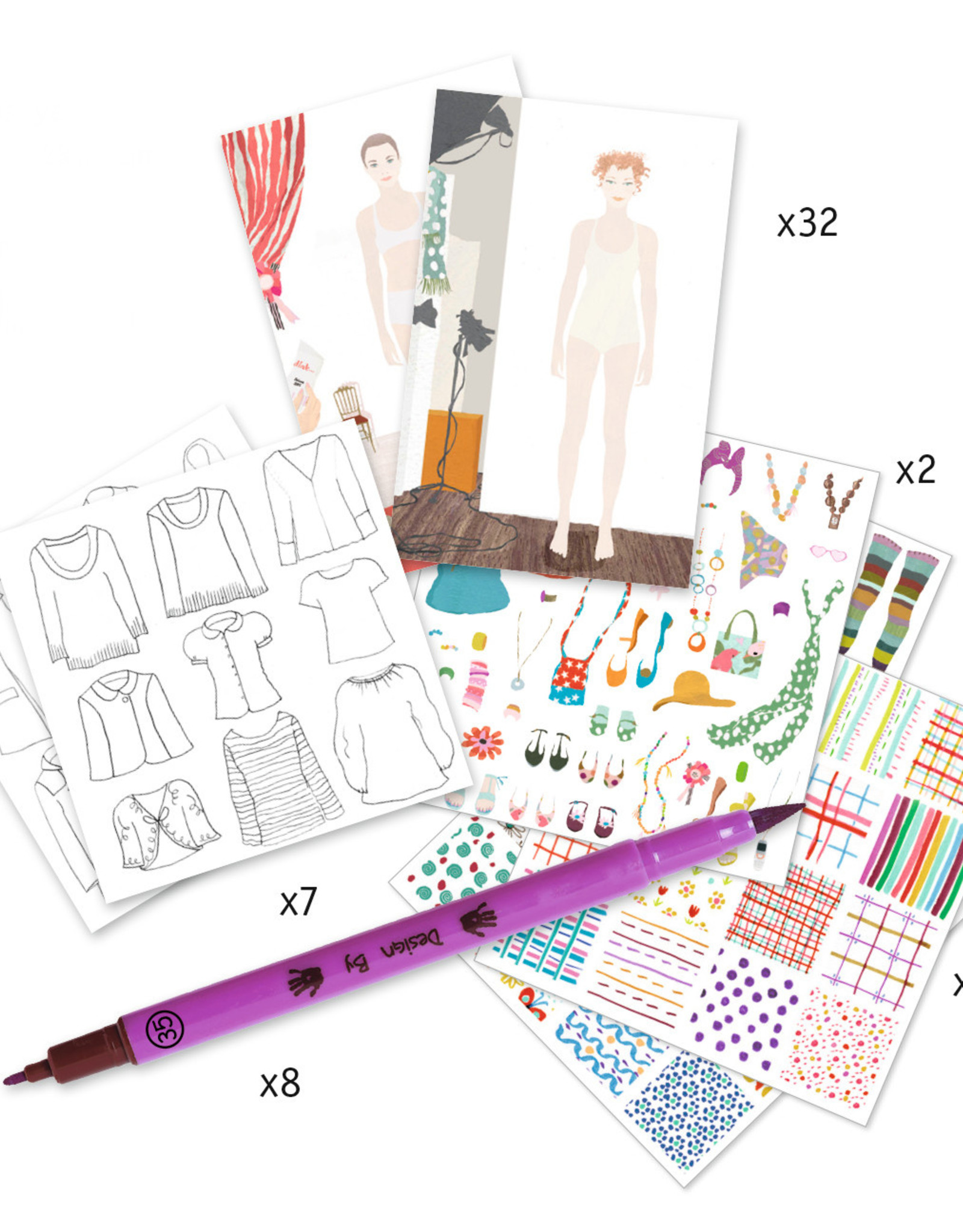 Djeco Drawing a Fashion Show, Paper Doll Kit with Felt Tip Markers