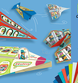 "Djeco Origami Planes with Pilot Stickers, 8.2"" x 11.8"", 20 Sheets"