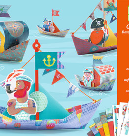 Djeco Origami Floating Boats with Stickers, 18 Sheets