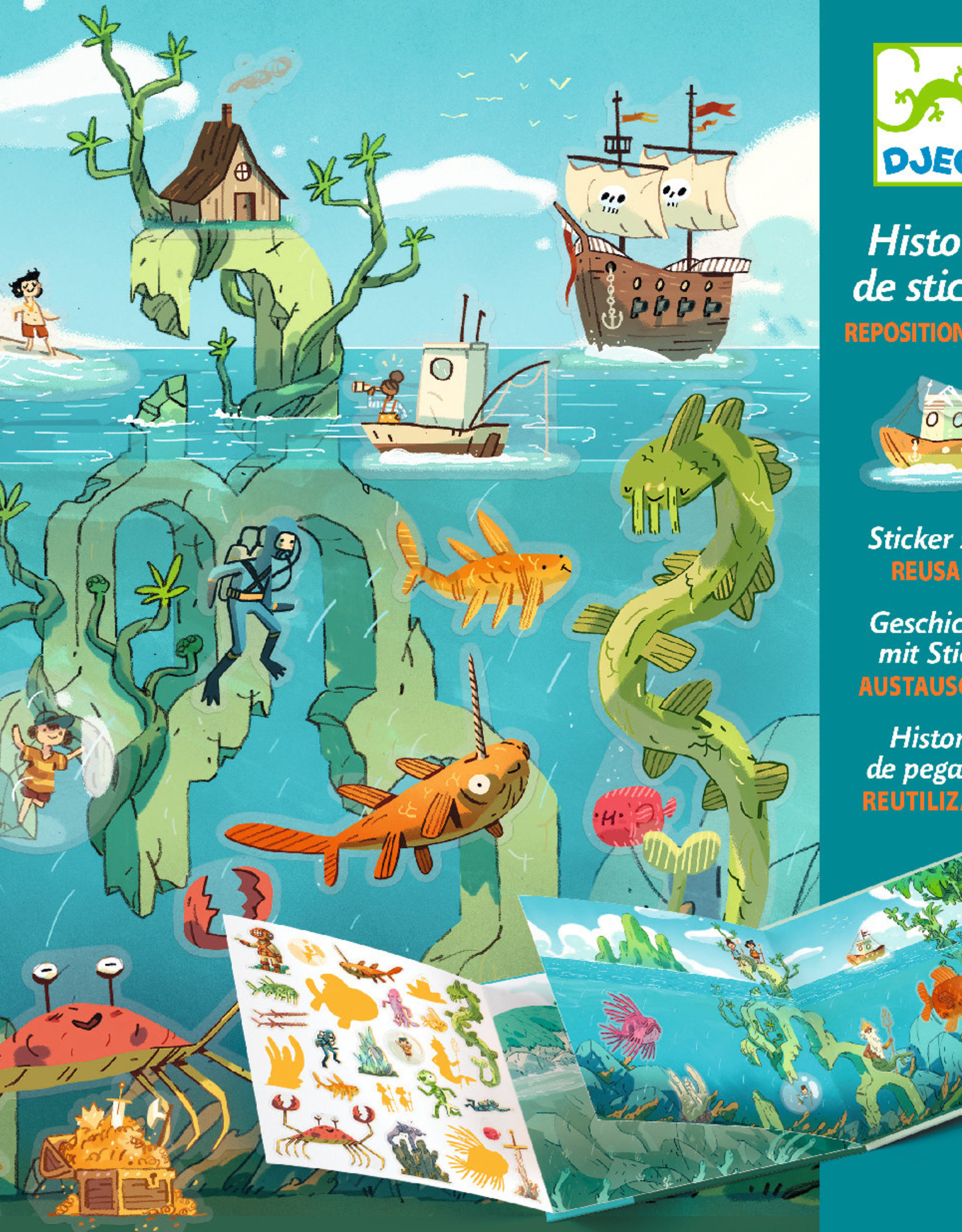Djeco Sticker Stories, Adventures at Sea, 1 Book with 50 Repositionable Stickers