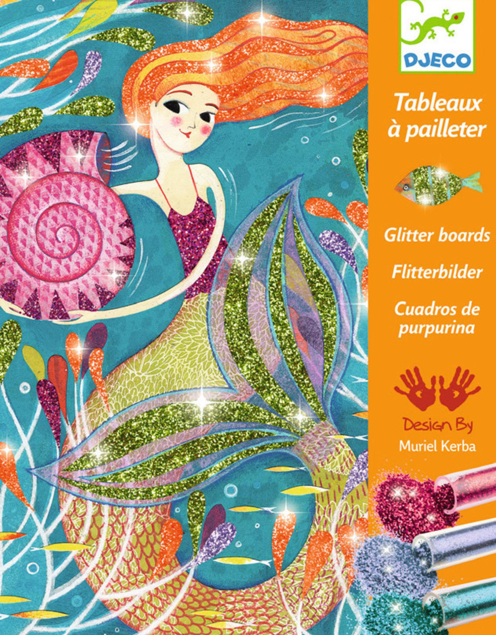 Djeco Glitter Boards, Mermaids, Set of 4 Boards