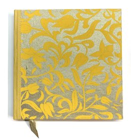 "Indian Decorative Journal, Yellow Flowers on Gold, 7"" x 7"""