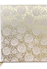 "Indian Decorative Journal, White Roses on Gold, 7"" x 7"""