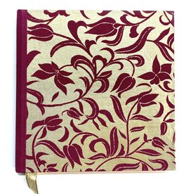 "Indian Decorative Journal, Red Violet Flowers on Gold, 7"" x 7"""