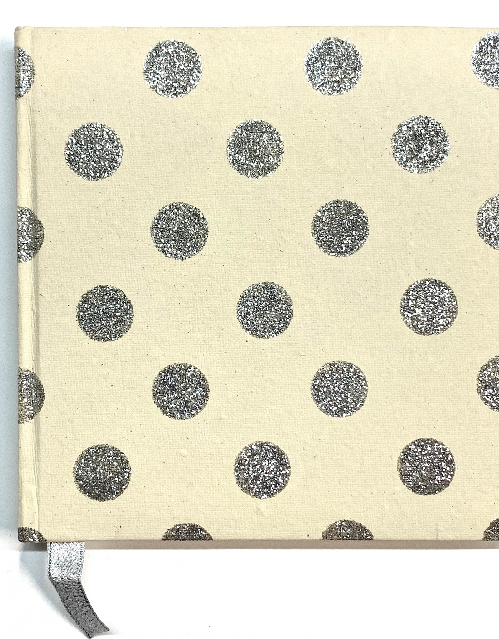 "Indian Decorative Journal, Silver Glitter Dots on Cream, 7"" x 7"""