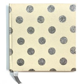 "Indian Decorative Journal, Silver Glitter Dots on Cream, 7"" x 7"""