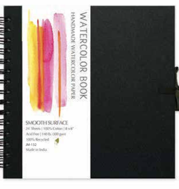 "Black Cover, Watercolor Book, Spiral Bound, Smooth Surface, 24 Sheets, 6."" x 6"", 140#/300gsm, Fabric Ties"