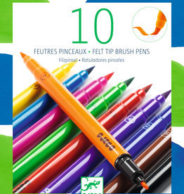 Djeco Felt Tip Brush Pens, Classic Colors, 10 Pack