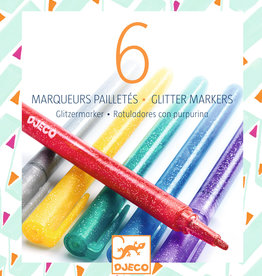 Djeco Glitter Markers, 6 Pack