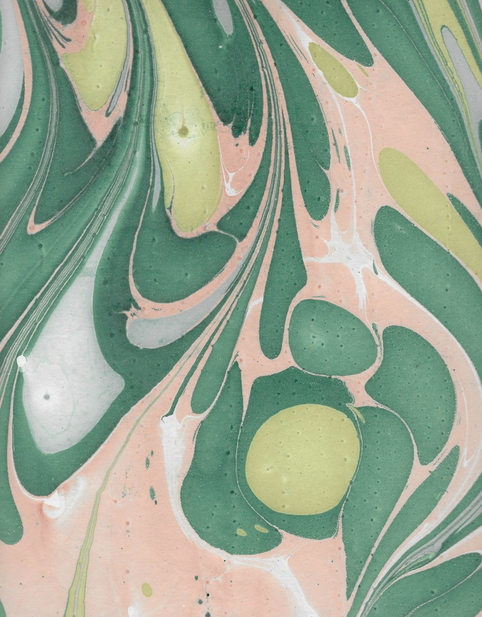 "Indian Marble: Teal, Peach, Light Blue and Green on White, Turkish Design, 22"" x 30"""