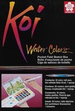 Koi Watercolors Pocket Field Sketch Box Set, 30 Colors
