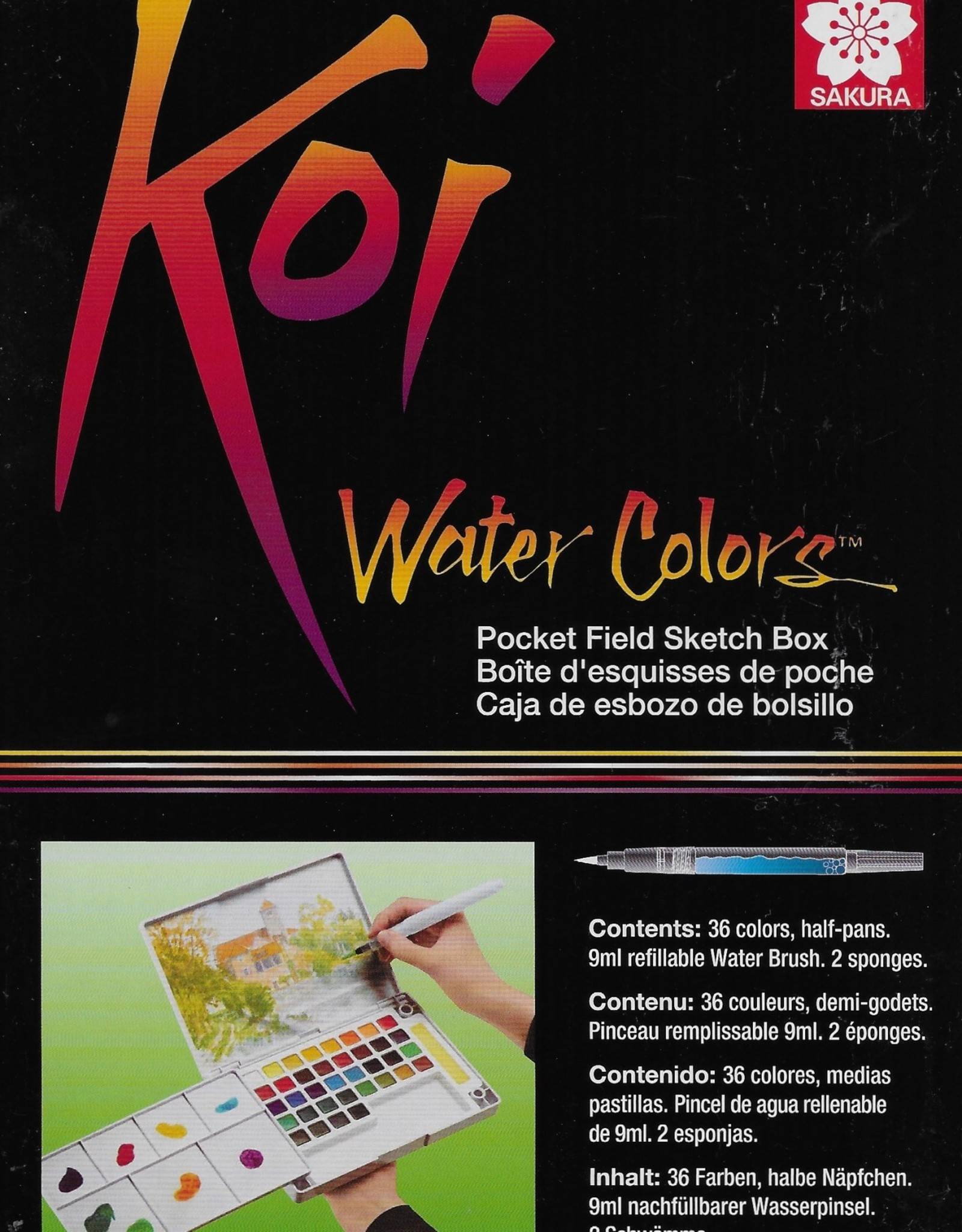 Koi Watercolors Pocket Field Sketch Box Set, 36 Colors