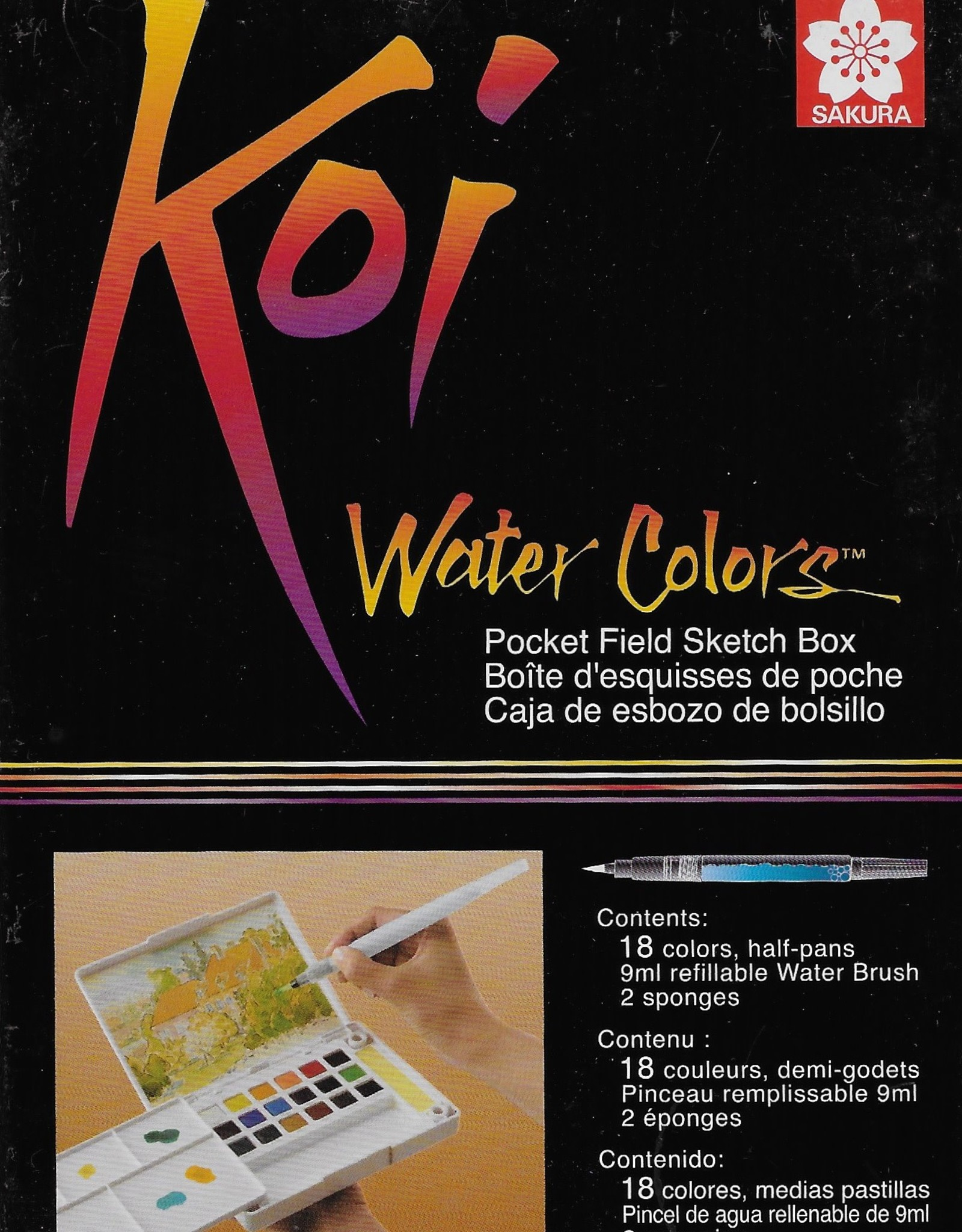 Sakura Koi Watercolors Pocket Field Sketch Box Set, 18 Colors