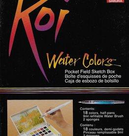 Koi Watercolors Pocket Field Sketch Box Set, 18 Colors