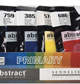Sennelier, Innovative Acrylic, Abstract, Primary Color Set, Includes: Blue, Red, Yellow, Black and White 4fl oz each