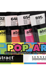 Sennelier, Innovative Acrylic, Abstract, 5 Set of Fluorescent Colors: Blue, Yellow, Orange, Pink, Green/ 4fl oz each