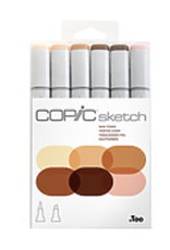 Copic Sketch Marker, Skin Tones Set of 6