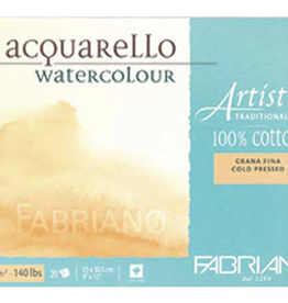 "Fabriano Artistico Hot Press, Traditional White Block 5"" x 7"", 300gsm, 25 Sheets"