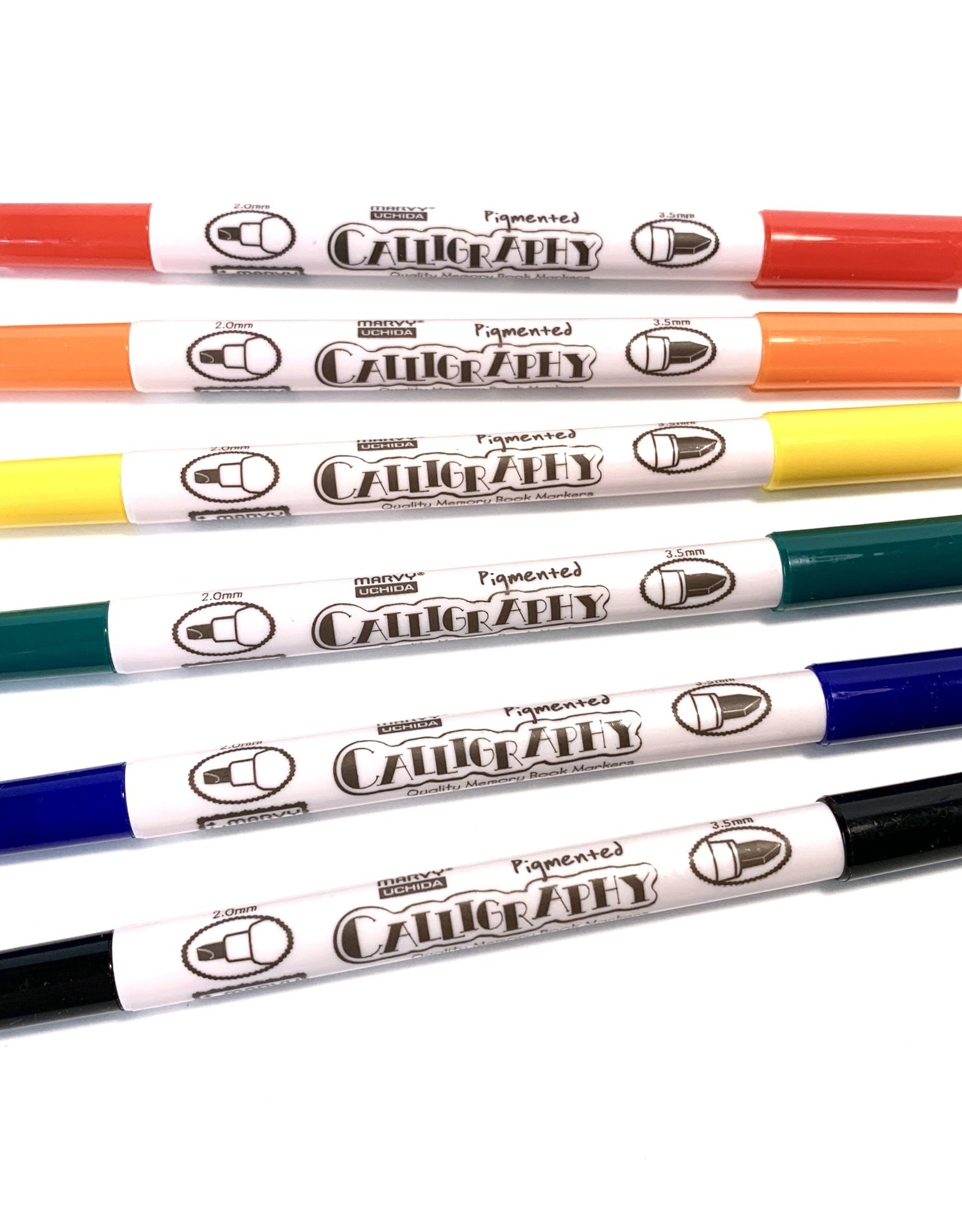Calligraphy Markers, Dual Tip: 3.5mm 2.0mm, 6 pack