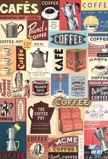 "Cavallini Coffee Collage, Cavallini Poster Print, 20"" x 28"""