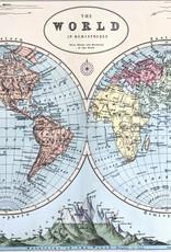 "Cavallini World Map Hemispheres, Cavallini Poster Print, 20"" x 28"""