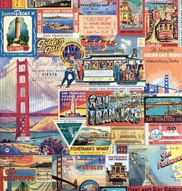 "Cavallini San Francisco Collage, Cavallini Poster Print, 20"" x 28"""