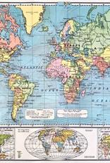 "Cavallini World Map 6,  Cavallini Poster Print, 20"" x 28"""