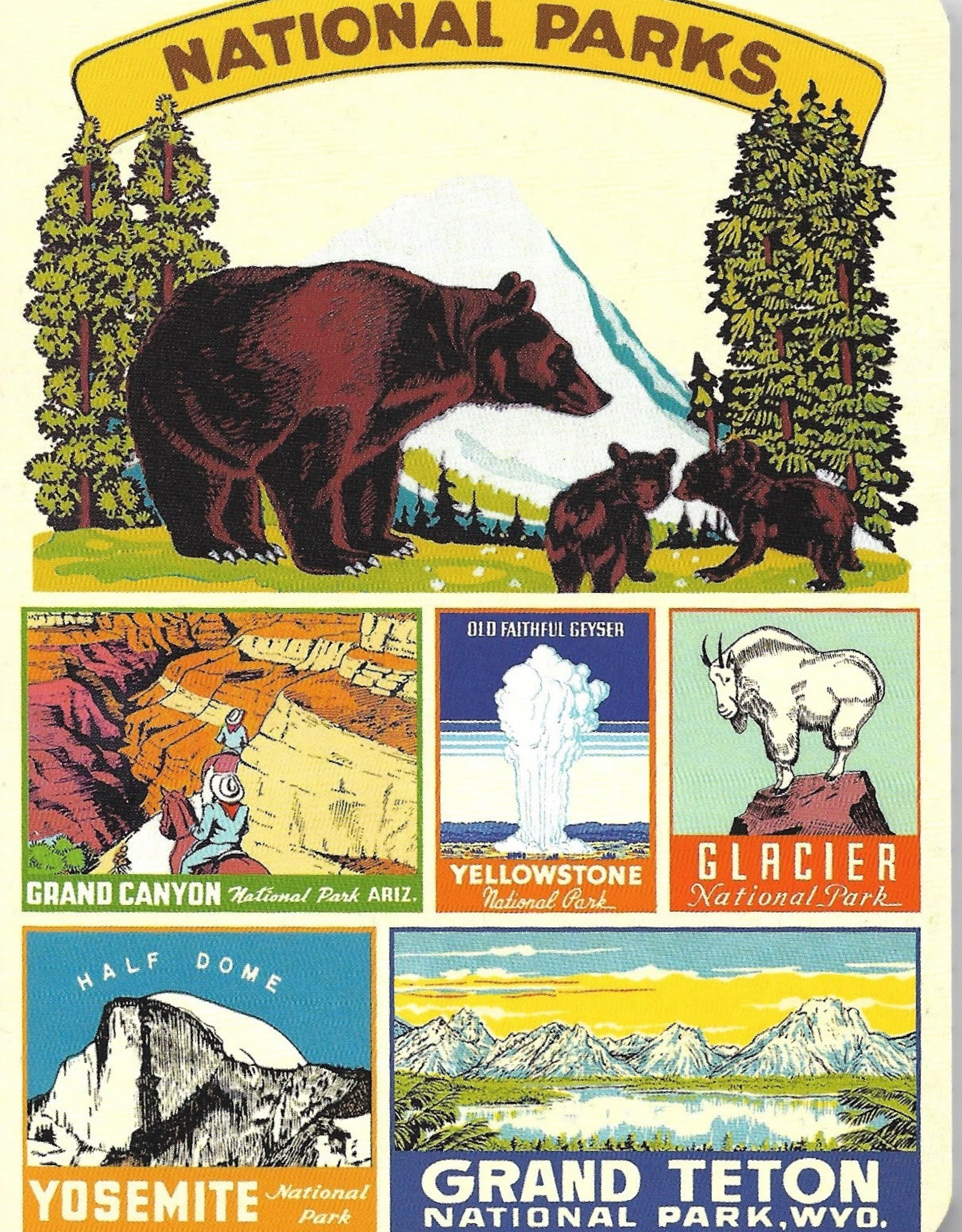 Cavallini National Parks, Cavallini Mini Notebook Set of 3: Grid, Blank, and Lined