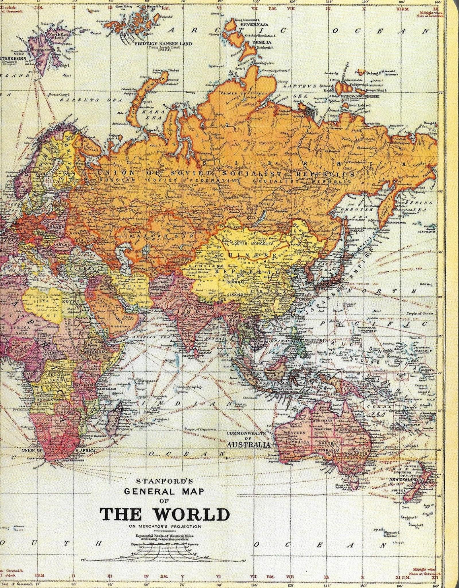 Cavallini Vintage World Maps, Cavallini Mini Notebook Set of 3: Grid, Blank, and Lined