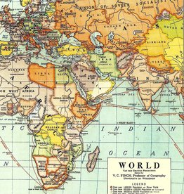 Cavallini Vintage World Maps, Cavallini Mini Notebook Set of 3: Grid, Blank, and Lined