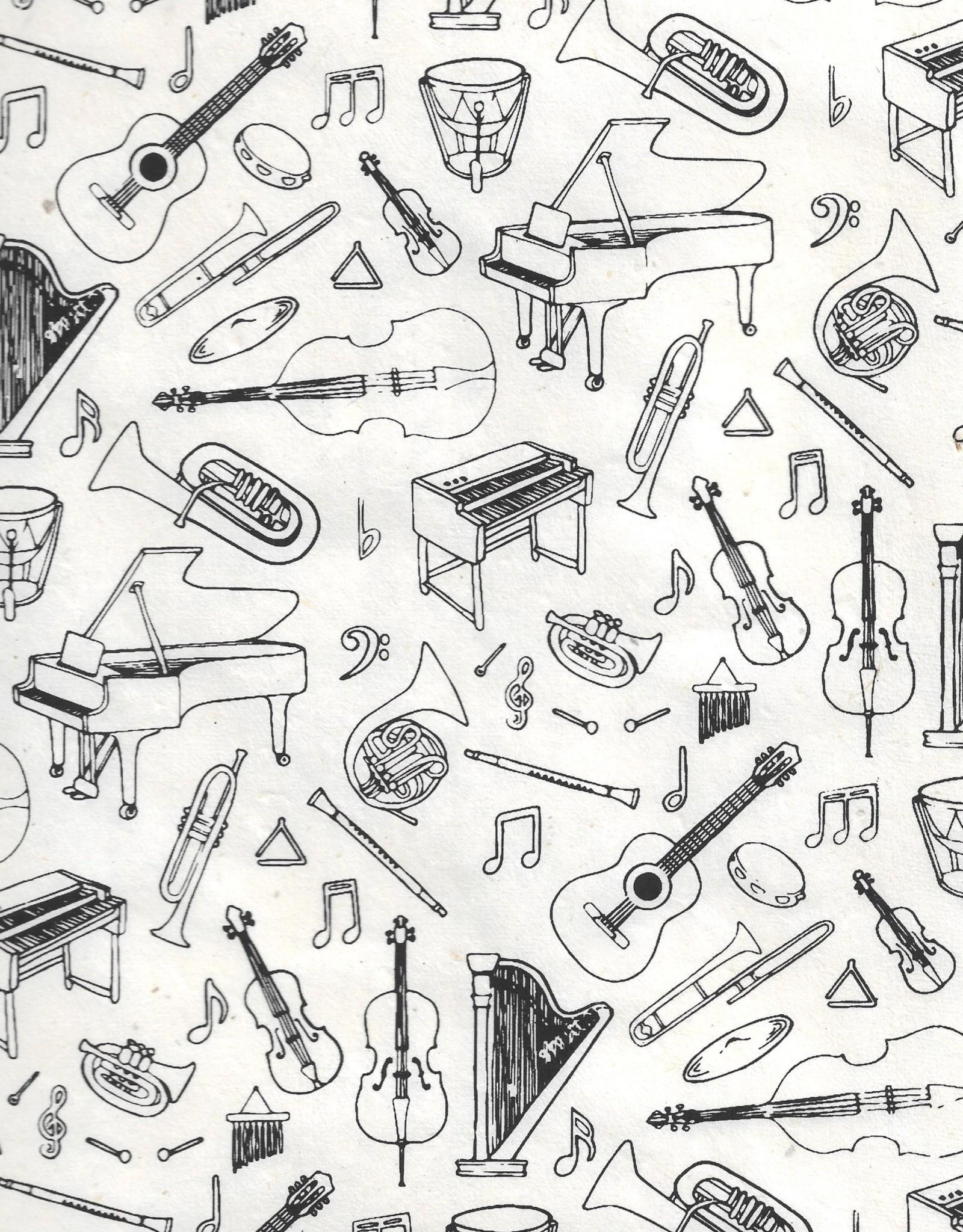 "Lokta Music Instruments, Black on Natural, 22"" x 30"""