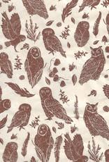 "Lokta Brown Owls on Natural, 20"" x 30"""
