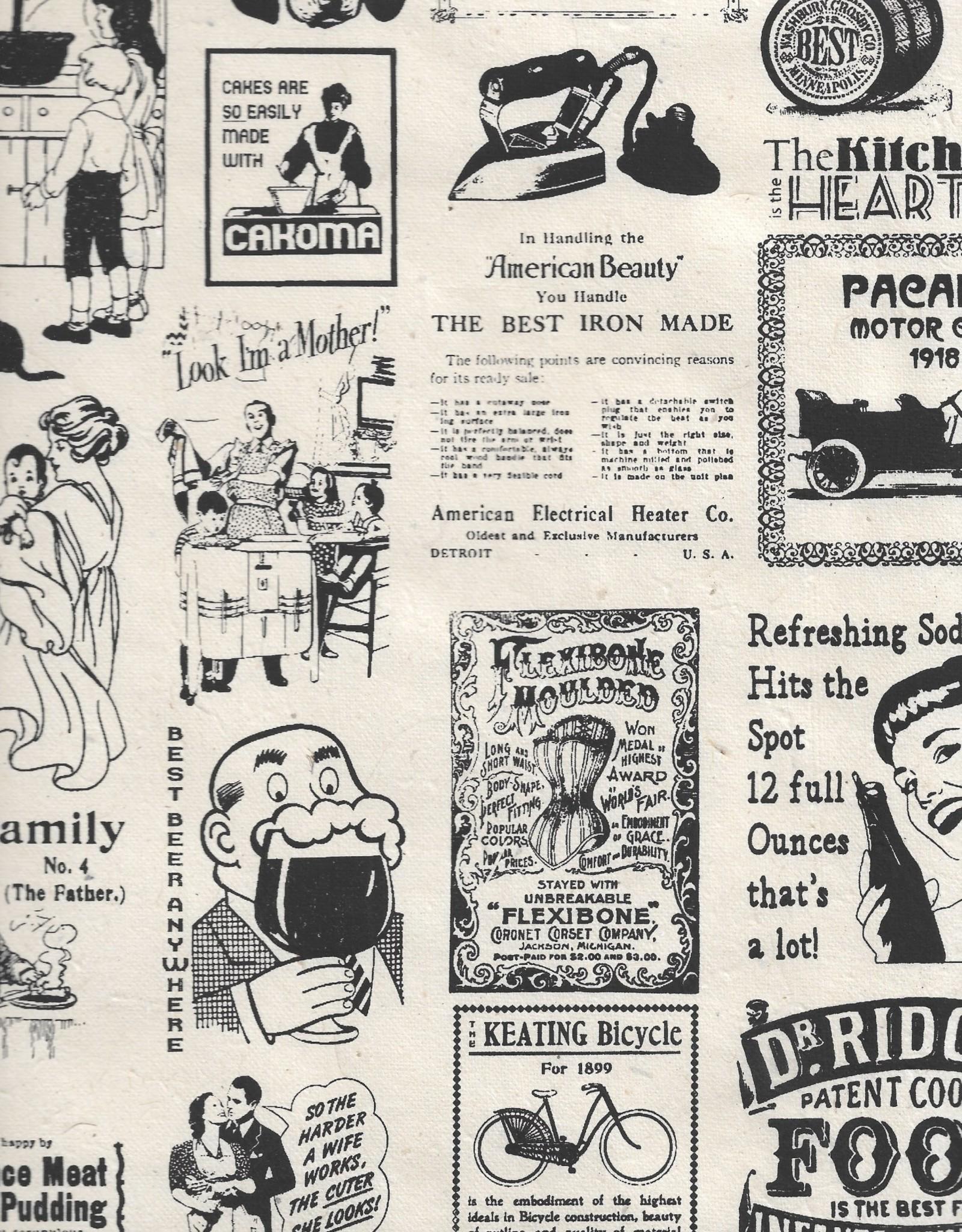 """Lokta Vintage Newspaper Ads, Black on Natural, 20"""" x 30"""""""