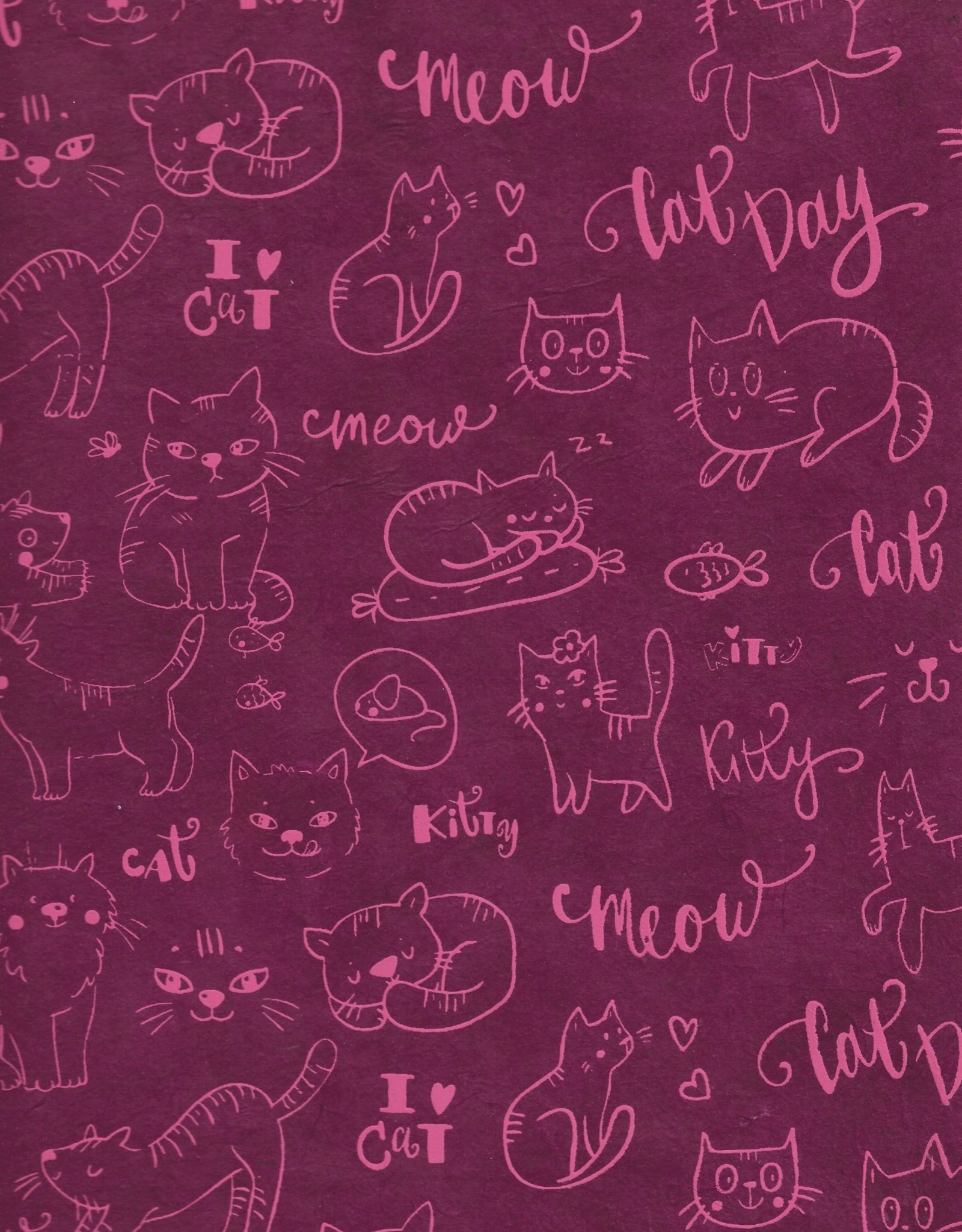"Lokta Cats Pink on Magenta, 20"" x 30"""