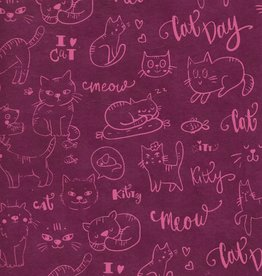 "Lokta Cats on Pink, 20"" x 30"""