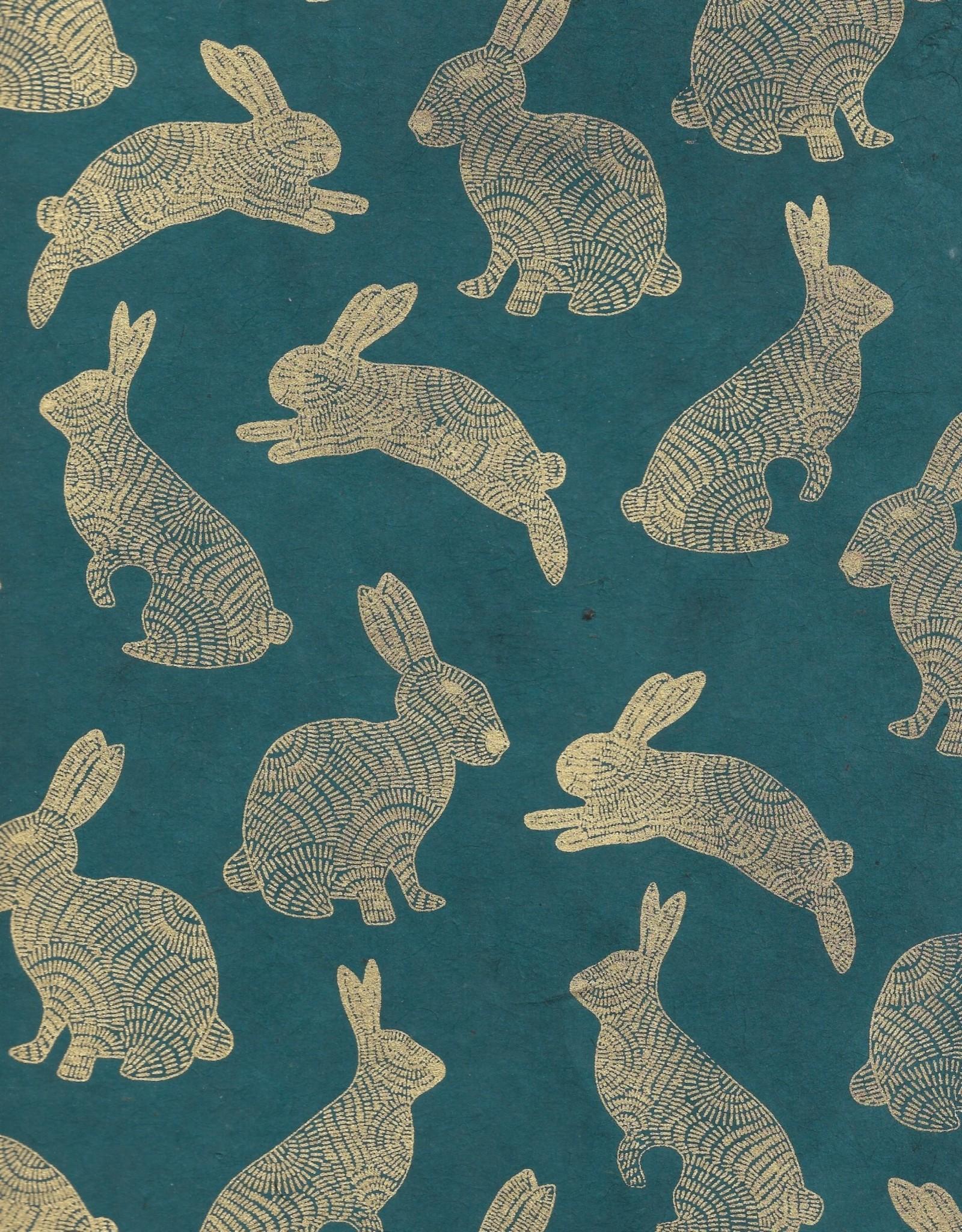 "Lokta Rabbits Gold on Green, 20"" x 30"""